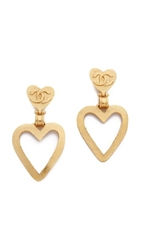 Wgaca Vintage Chanel Heart Dangle Earrings Gold