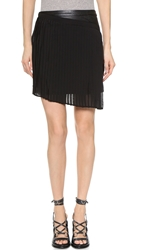 Shades Of Grey Asymmetrical Pleated Wrap Skirt Black