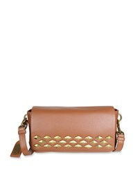 Badgley Mischka Carol Studded Leather Crossbody Bag Cognac