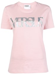 Versus Front Logo T Shirt Pink And Purple