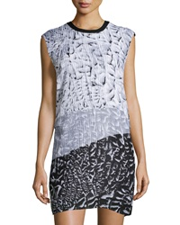 Helmut Lang Annex Plisse Chiffon Colorblock Mini Dress Black White