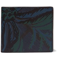Burberry Floral Print Textured Faux Leather Billfold Wallet Navy