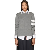 Thom Browne Grey Silk 4 Bar Sweater