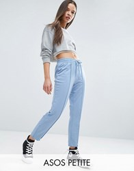 Asos Petite Marl Track Pants With Zip Sides Light Blue Multi