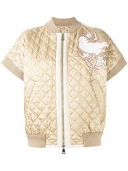 N 21 No21 Quilted Bomber Jacket Nude Neutrals