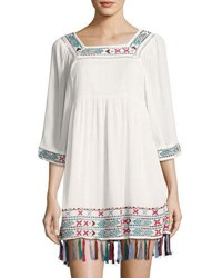 Romeo And Juliet Couture Embroidered Gauze Peasant Dress White