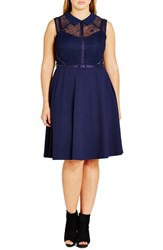 City Chic Plus Size Women's Office Romance Fit And Flare Shirtdress French Navy