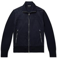 Tom Ford Slim Fit Suede And Wool Jacket Navy