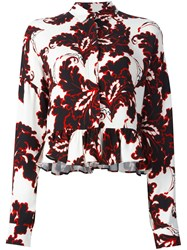Msgm Floral Print Longsleeved Blouse White