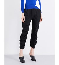 Stella Mccartney Tapered Ruched Wool Trousers Black
