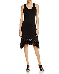 Red Haute Fringed Tank Dress Black