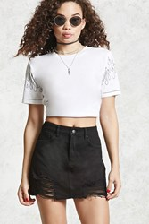 Forever 21 Distressed Denim Mini Skirt