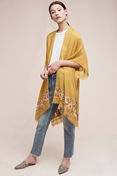 Anthropologie Embroidered Multiway Kimono Yellow