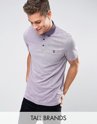 Ted Baker Tall Stripe Polo With Contrast Collar Purple