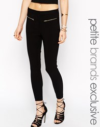 New Look Petite Tailored Trouser With Zip Detail Black