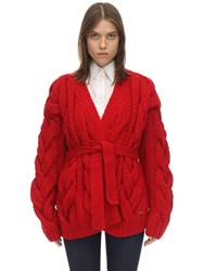 Dsquared Oversize Acrylic Blend Knit Cardigan Red