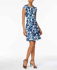 Jessica Howard Petite Floral Print Fit And Flare Dress Blue Multi
