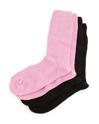 Neiman Marcus Cashmere Blend Two Pack Socks Black Pink