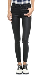 Current Elliott The High Waist Ankle Skinny Jean Black Coated
