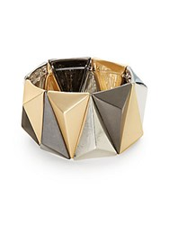 Saks Fifth Avenue Mixed Metal Pyramid Stretch Bracelet Gold Silver