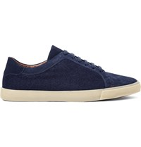 Loro Piana Freetime Winter Walk Cashmere Panelled Suede Sneakers Storm Blue
