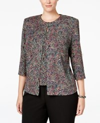 Alex Evenings Plus Size Printed Glitter Jacket And Shell Set Multi
