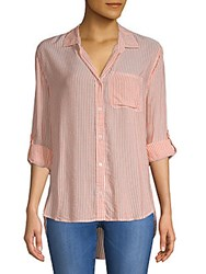 Saks Fifth Avenue Hi Lo Stripe Shirt Sun Orange