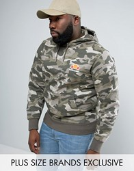 Ellesse Plus Hoodie With Small Logo Camo Green