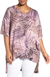 Melissa Mccarthy Seven7 Plus Size Women's Print One Pocket V Neck Tee Potent Purple