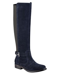 Tommy Hilfiger Suprem Suede And Textile Riding Boots Navy Blue