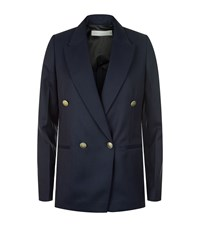 Victoria Beckham Double Breasted Tuxedo Blazer Female Blue