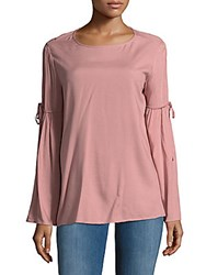 Beach Lunch Lounge Bell Sleeve Tie Accent Top Blush