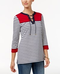 Charter Club Petite Lace Up Striped Henley Top Only At Macy's New Red Amore Combo
