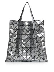 Issey Miyake Prism Basic Metallic Faux Leather Tote White Black Silver
