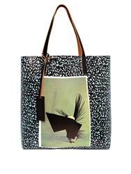 Marni Pocket Print Pvc Tote Black Multi
