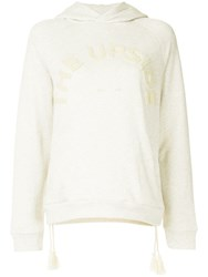 The Upside Shearling Embroidered Logo Hoodie White
