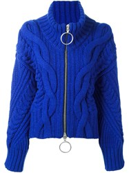 Off White Zipped Cable Knit Cardigan Blue