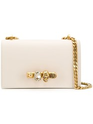 Alexander Mcqueen Jewelled Skull Satchel White