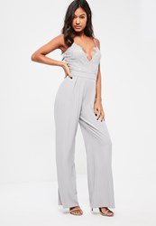 Missguided Grey Lace Top Wide Leg Strappy Jumpsuit