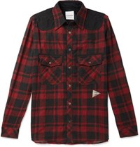 And Wander Shell Panelled Checked Wool Blend Shirt Red