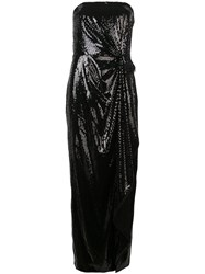 Prabal Gurung Strapless Gathered Sequin Gown Black