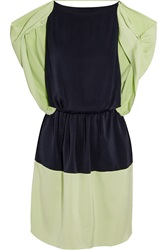 Vionnet Draped Color Block Silk Blend Mini Dress Green