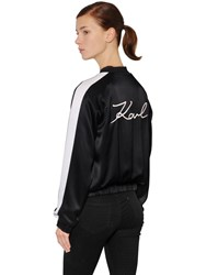 Karl Lagerfeld Embroidered Satin Bomber Jacket