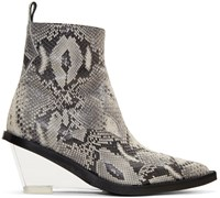 Maison Martin Margiela Mm6 Grey Faux Python Wedge Boots