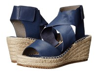 Eileen Fisher Willow Dark Mulberry Tumbled Leather Women's Wedge Shoes Blue