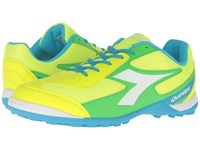 Diadora Quinto 6 Tf Yellow Fluo Blue Fluo Green Men's Soccer Shoes