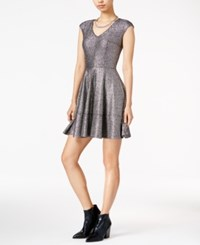Bar Iii Metallic Fit And Flare Dress Only At Macy's Silver Grey