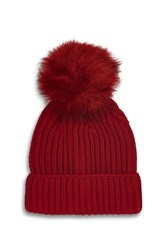 Topshop Red Tonal Pom Beanie Hat Red