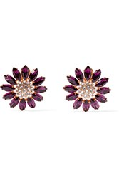 Miu Miu Gold Tone Crystal Clip Earrings Purple