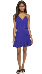 Milly Stretch Silk Tank Dress Cobalt